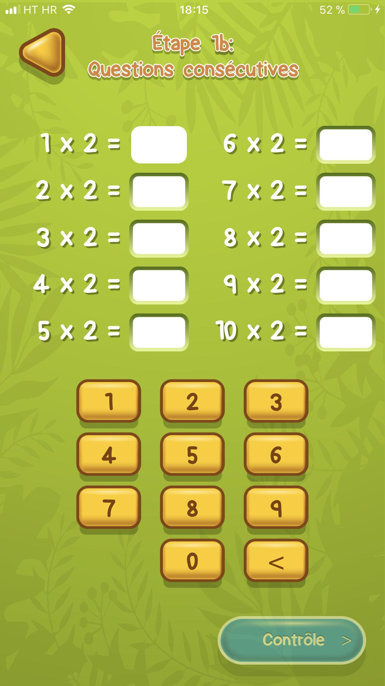 Table de multiplication App Exemple 3