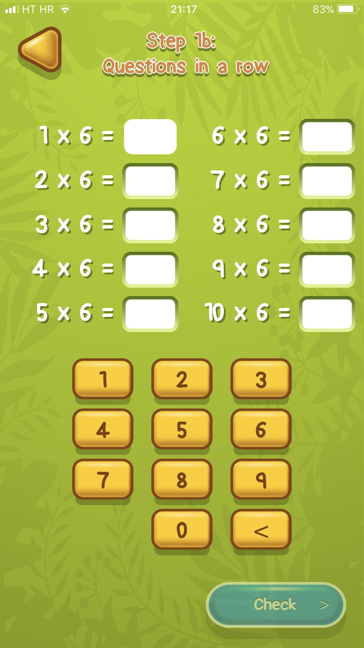 Tabliczki mnożenia Aplikacja przykład 3